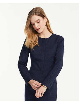 The Crew Neck Jacket In Pindot by Ann Taylor
