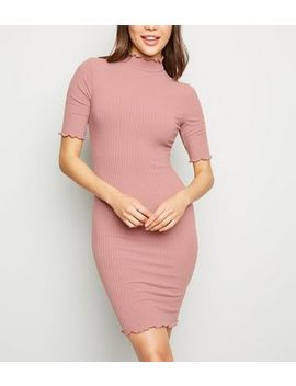 Pink Ribbed Turtleneck Mini Dress by New Look