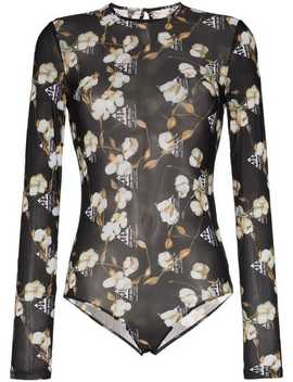 Floral Print Semi Sheer Bodysuit by Off White