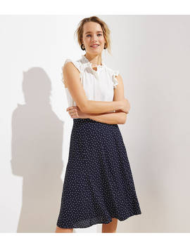 Dotted Godet Midi Skirt by Loft