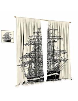 Cobe Decor Pirate Ship Room Darkening Wide Curtains Sailing Boat Detailed Illustration Nautical Maritime Theme Vintage Style Art Customized Curtains W84 X L84 Cream Black by Cobe Decor