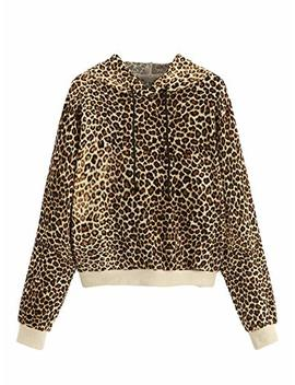 Sweaty Rocks Women's Causal Sweatshirt Leopard Long Sleeve Drawstring Hoodies Lightweight Pullover Tops by Sweaty Rocks