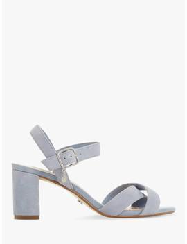 Dune Megz Cross Strap Block Heel Sandals, Blue Suede by Dune
