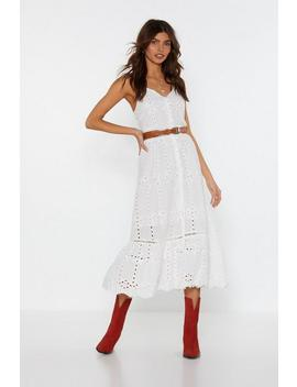 Because I Thread So Broderie Midi Dress by Nasty Gal