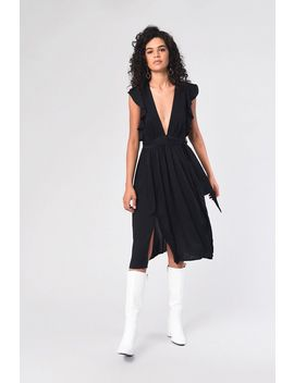**Plunge Midi Ruffle Dress By Glamorous by Topshop