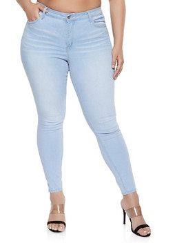 Plus Size Wax High Rise Whiskered Jeans by Rainbow