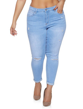 Plus Size Wax Push Up Jeans by Rainbow