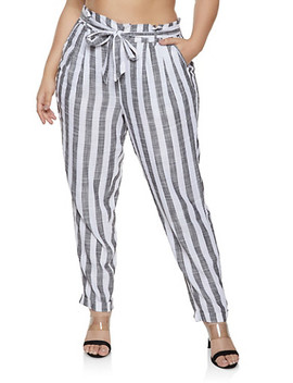 Plus Size Striped Linen Paper Bag Tie Waist Pants by Rainbow