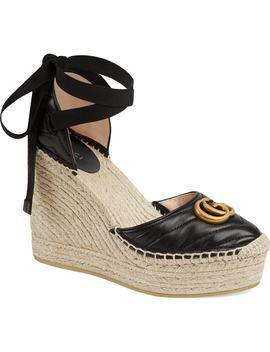Palmyra Ankle Tie Espadrille Wedge by Gucci