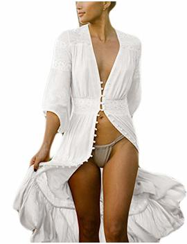 Bsubseach Women Sexy Lace Crochet Open Front Swimsuit Beach Long Kimono Cover Ups by Bsubseach