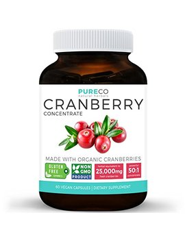 Organic Cranberry Pills   50:1 Concentrate Equals 25,000mg Of Fresh Cranberries (Vegan) For Kidney Cleanse & Urinary Tract Health   Uti Vitamins Support   Fruit Extract Supplement   60 Capsules by Pure Co