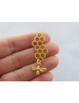 4 Bee And Honeycomb Charms Gold Tone Gc186 by Ebay Seller
