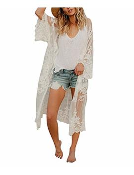 Women's Bathing Suit Kimono Beach Cover Up Lace Crochet Pool Swimwear (White, M) by Jeasona
