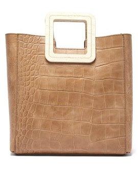 Shirley Crocodile Embossed Leather Bag by Staud