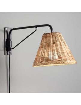 Black Swiveling Wall Sconce With Wicker Shade by World Market