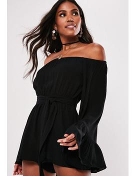 Black Flare Sleeve Bardot Playsuit by Missguided