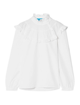 Emmanuelle Ruffled Swiss Dot Cotton Blend Blouse by M.I.H Jeans