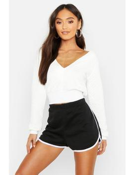 Petite Cropped Quilted Sweat by Boohoo