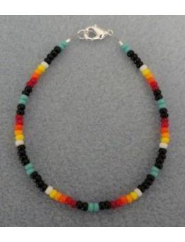 """Turquoise & Black Beaded Bracelet Native American Tribal Men's Women's 7 8.5"""" by Ebay Seller"""