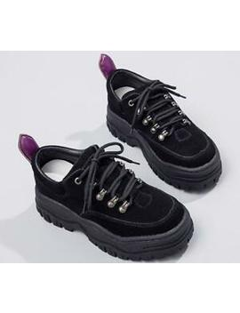 Retro Womens Girls Lace Up Trainers Chunky Heel Platform Sneakers Casual Shoes by Ebay Seller