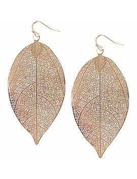Humble Chic Filigree Leaf Earrings   Delicate Lightweight Cutout Oversized Drop Dangles by Humble Chic+Ny