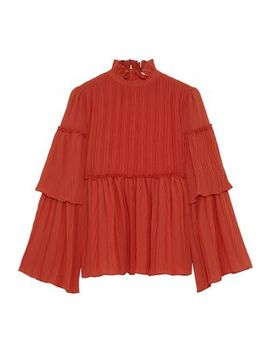 ruffle-trimmed-gathered-gauze-blouse by see-by-chloÉ