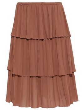 tiered-plissé-crepe-de-chine-skirt by see-by-chloÉ