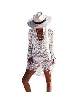 Saherewanr Women Swimsuit Cover Up Dress Lace Long Bathing Kimono Beach Wear Mini Crochet Stripe Cardigan White Tassel Skirt by Saherewanr