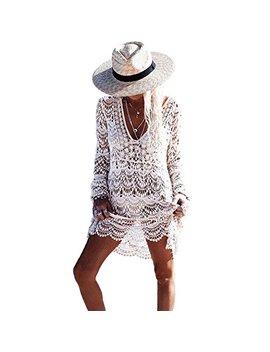 saherewanr-women-swimsuit-cover-up-dress-lace-long-bathing-kimono-beach-wear-mini-crochet-stripe-cardigan-white-tassel-skirt by saherewanr