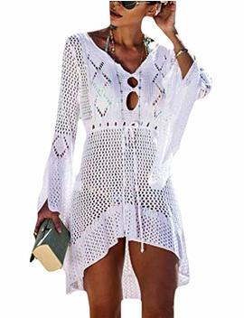Bsubseach Women Crochet Swimsuit Cover Up Hollow Out Flare Sleeve Beach Dress by Bsubseach