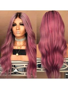 Long Balayage Hairstyle Curly Hair Purple Ombre Women Heat Resistant Wig In9 by Ebay Seller