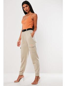 Stone Cargo Pocket Joggers by Missguided