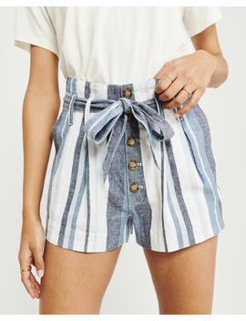 Belted Linen Button Up Shorts by Abercrombie & Fitch