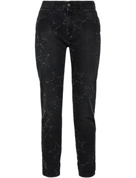 Distressed Mid Rise Straight Leg Jeans by Stella Mc Cartney