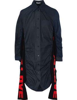 raven-jacquard-knit-paneled-checked-cotton-poplin-mini-shirt-dress by stella-mccartney
