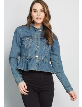 Peplum In Place Denim Jacket by Modcloth