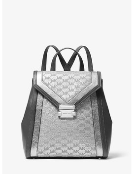 Whitney Metallic Logo Jacquard Backpack by Michael Michael Kors
