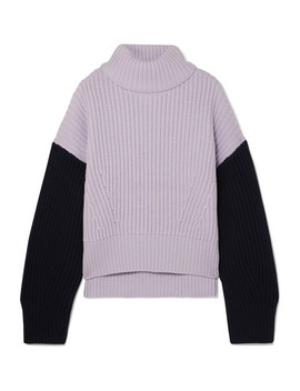 Two Tone Ribbed Organic Merino Wool Turtleneck Sweater by Ninety Percent