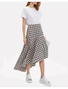 Pink Checked Seersucker Midi Skirt by Ganni