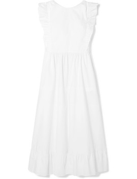 Abito Ruffled Cotton Blend Poplin Dress by Red Valentino