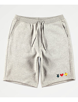 Bobby Tarantino By Logic Peace, Love & Positivity Grey Sweat Shorts by Bobby Tarantino By Logic