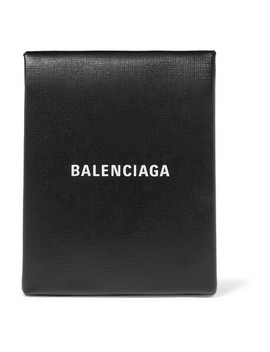 Shopping Envelope Printed Textured Leather Clutch by Balenciaga