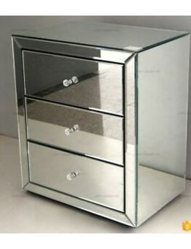 Venetian Mirrored 3 Drawer Bedside Cabinet / Nightstand   Bedroom Furniture by Ebay Seller