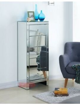 Mirrored Furniture Tallboy Cabinet Chest 5 Drawers New Stylish Bedroom Home by Ebay Seller