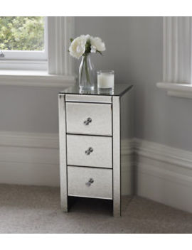 Mirrored Glass Bedside Table Cabinet 3 Drawers And Crystal Handles Bedroom Furni by Ebay Seller