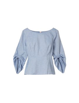 Chambray Twill Corset Peplum Top by Tibi