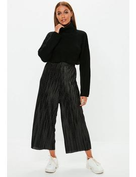 Petite Black Pleated Polka Dot Culottes by Missguided