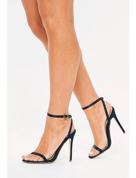 Navy Satin Skinny Barely There Heels by Missguided