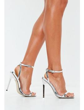 Silver Square Toe Barely There Heels by Missguided