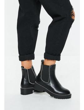 Black Pu Silver Trim Chunky Ankle Boots by Missguided